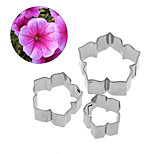 3pcs/lot Stainless Steel Petunia Carnations Cosmos Flower Cake Mold Cookie Cutter