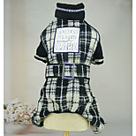 Dog Jumpsuit Dog Clothes Warm Casual/Daily Plaid/Check Black Costume For Pets