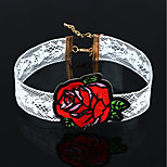 Women's Choker Necklaces Flower Rose Flannelette Floral Simple Style Jewelry For Daily Casual