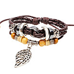 Men's Women's Leather Bracelet Simple Vintage Leather Alloy Leaf Jewelry For Gift Casual