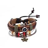 Муж. Жен. Wrap Браслеты Кожаные браслеты Кожа Серебрянное покрытие Бижутерия Назначение Повседневные