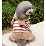 Dog Hoodie Jumpsuit Dog Clothes Casual/Daily Stripe Brown Pink Costume For Pets