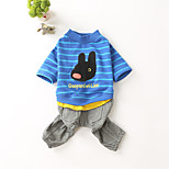 Dog Sweatshirt Jumpsuit Dog Clothes Cotton Down Winter Spring/Fall Casual/Daily Cartoon Blue For Pets