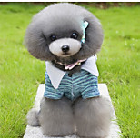 Dog Jumpsuit Dog Clothes Plush Fabric Spring/Fall Winter Casual/Daily Cartoon Green Light Blue For Pets
