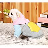 Собака Толстовки Одежда для собак На каждый день Цветовые блоки Серый Розовый
