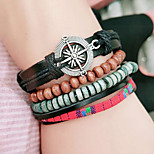 Men's Women's Wrap Bracelet Multi Layer Vintage Leather Round Jewelry For Casual