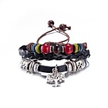Men's Women's Leather Bracelet Jewelry Crystal Friendship Punk Adjustable PU Alloy Leaf Jewelry For Daily Casual Stage Office & Career