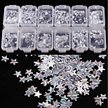 12 color Pattern Laser Striation Silver Sequins 1g/box