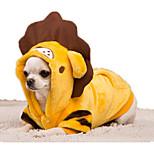 Собака Костюмы Одежда для собак Фланель Пух Зима Весна/осень На каждый день Мультфильмы Желтый Красный Для домашних животных