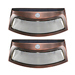2PCS Solar Power Light Motion Detection 8 LED Waterproof Outdoor Smiling Wall Lights Wireless Security Step Night Lamps -Copper