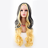 Women Synthetic Wig Capless Long Body Wave Yellow Ombre Hair Halloween Wig Costume Wig
