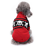 Dog Sweater Dog Clothes Halloween Skulls Red Costume For Pets