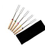 5 шт. / Комплект bbq forks кемпинг костер из нержавеющей стали деревянная ручка телескопическая барбекю обжиг вилка палочки шампуры bbq