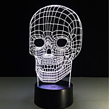 1 Set, Home Bedroom Acrylic 3D Night Light LED Lamp USB Mood Lamp, Available Battery, Colorful, 3W, Skull