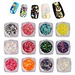 Pinpai 12 pcs art échelles paillettes holographique paillettes nail décoration sirène paillettes aléatoire