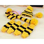 Собака Носки Банданы и шляпы Одежда для собак Сохраняет тепло Полоски Желтый Розовый Радужный