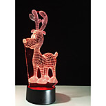 1 Set, Home Bedroom Acrylic 3D Night Light LED Lamp USB Mood Lamp, Available Battery, Colorful, 3W, Cartoon deer
