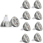 10pcs MR16 3W LED Spotlight 250LM Warm/Cool White Led Bulb Lamp AC/DC12V