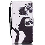 Case For Apple Ipod Touch5 / 6 Case Cover Card Holder Wallet with Stand Flip Pattern Full Body Case  Woman Flower Hard PU Leather