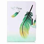 Feathers Pattern Card Holder Wallet with Stand Flip Magnetic PU Leather Case for Samsung GALAXY Tab A 9.7 T550 T555 9.7 inch Tablet PC