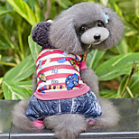 Dog Jumpsuit Dog Clothes Casual/Daily Stripe Fuchsia Blue Costume For Pets