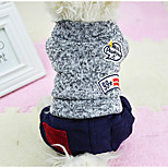 Dog Jumpsuit Dog Clothes Casual/Daily Letter & Number Orange Gray Yellow Blue For Pets