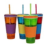 Travel Snack Drink In One Container Lid Straw Kids Snack Bottle Separated Ine with A Straw Ramdon Color