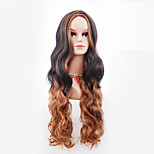 Women Synthetic Wig Capless Long Body Wave Brown Ombre Hair Halloween Wig Costume Wig
