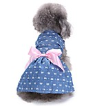 Cat Dog Tuxedo Dress Dog Clothes Party Casual/Daily Wedding Christmas New Year's Bowknot Blue