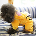 Dog Hoodie Dog Clothes Warm Stylish Cartoon Yellow Costume For Pets