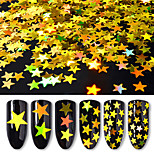 6box Different Sizes of Golden Five Pointed Star Sequins Laser Colorful Sequins Nail Decorations