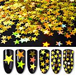 6box différentes tailles d'or cinq paillettes étoiles pointées laser paillettes colorées décorations d'ongles