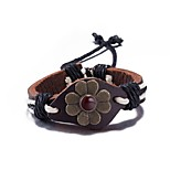 Men's Women's Leather Bracelet Jewelry Friendship Punk Adjustable PU Alloy Flower Jewelry For Daily Casual Stage Office & Career Street