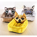 Кошка Собака Кровати Животные Коврики и подушки Мультипликация Желтый Кофейный Коричневый Синий Розовый