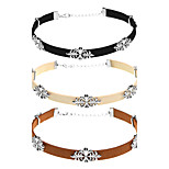 Women's Choker Necklaces Flower Cloth Alloy Sexy Elegant Jewelry For Party Daily