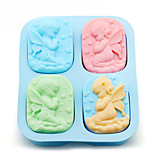 4 Holes Angels Silicone Mold Angel Couple Soap Mould Cake Maker Tool Random Color