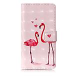 Кейс для Назначение Huawei P10 Lite Кошелек Бумажник для карт со стендом Флип С узором Чехол Фламинго Твердый Искусственная кожа для