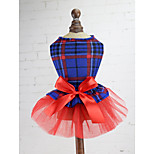 Dog Dress Dog Clothes Dresses&Skirts Plaid/Check Red Green Blue Costume For Pets