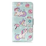 Кейс для Назначение Huawei P10 Lite Кошелек Бумажник для карт со стендом Флип С узором Чехол единорогом Твердый Искусственная кожа для