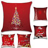 5 pcs Cotton/Linen Pillow Case Pillow Cover,Christmas Fashion Novelty Traditional/Classic Euro Retro Christmas