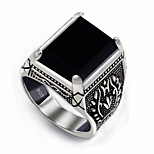 Men's Statement Rings Classic Vintage Silver Agate Irregular Jewelry For Wedding Party Gift Daily Valentine