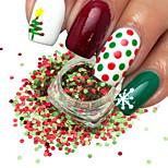 1g / бутылка мода рождество красный зеленый 3d блеск раунд блестки ногтей искусство блестящий xmas блестка украшение новый год гвоздь diy