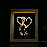 1 Set Of 3D Mood Night Light LED Lights USB Bedroom Photo Frame Lamp Gifts Double Heart