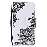 cheap -Case For Apple Ipod Touch5 / 6 Case Cover Card Holder Wallet with Stand Flip Pattern Full Body Case  Black Flower Hard PU Leather