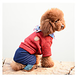 Dog Jumpsuit Dog Clothes Warm Casual/Daily Solid Gray Red Costume For Pets
