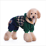 Cat Dog Coat Hoodie Jumpsuit Cold-proof Clothing Dog Clothes Casual/Daily Keep Warm Cute Style Christmas British Red Green Costume For