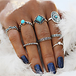 Men's Women's Rings Set Nail Finger Rings Turquoise Vintage Bohemian Statement Jewelry Alloy Oval Flower Irregular Jewelry For Wedding