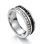 Men's Women's Band Rings Cubic Zirconia Metallic Stainless Steel Circle Jewelry For Party Bikini