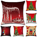 6 pcs Cotton/Linen Pillow Case Pillow Cover,Christmas Fashion Novelty Traditional/Classic Euro Retro Christmas
