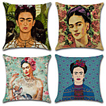 4 pcs Cotton/Linen Pillow Case Pillow Coverprinting Classic Novelty Vintage Casual European Traditional/Classic Neoclassical Retro